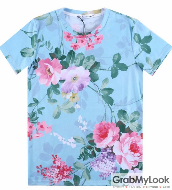 Blue Vintage Roses Flower Floral Mens Short Sleeves T Shirt