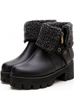 Black Woolen Ankle Flap Chunky Platforms Sole Heels Vintage Boots Shoes