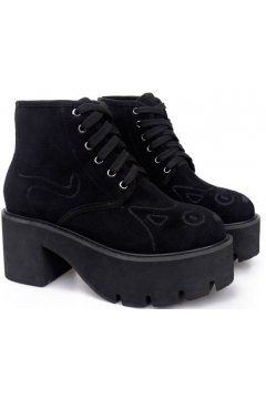 Cat Face Black Suede Platforms Lace Up Chunky Sole Heels Punk Rock Ankle Boots
