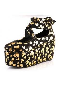 Gold Skulls Black Suede Ankle Cross Strap Ballets Plaforms Mary Jane Lolita Gothic Flats