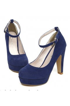 Suede Blue  Round Head Ankle Strap Platforms High Heels Shoes