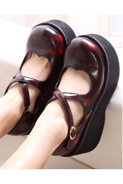 Burgundy Heart Shape Cross Straps Mary Jane Lolita Creepers Platforms Chunky Sole Heels Shoes