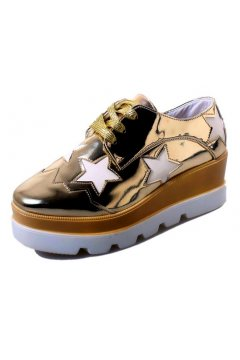 ​Gold Metallic Patent Leather White Stars Lace Up Platforms Wedges Oxfords Women Shoes