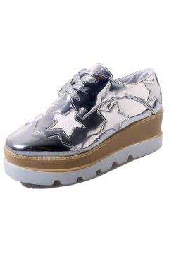 Silver Metallic Patent Leather White Stars Lace Up Platforms Wedges Oxfords Women Shoes