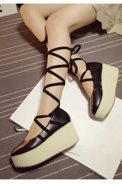 Black Ankle Strappy Straps Platforms Harajuku Punk Rock Gothic Flats Shoes