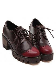 Lace Up Burgundy Old School Vintage Platforms Oxfords Chunky Boots Shoes