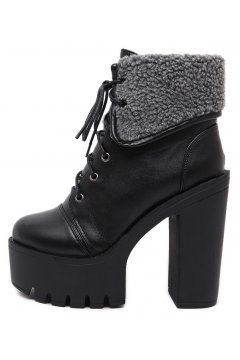 Ankle Woolen Flap Black Leather Lace Up Platforms Chunky Sole Heels Ankle Womens Boots Shoes