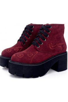 Cat Face Red Burgundy Suede Platforms Lace Up Chunky Sole Heels Punk Rock Ankle Boots