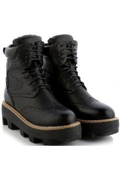 Vintage Black Leather Lace Up High Top Chunky Sole Punk Rock Military Combat Boots Women Shoes