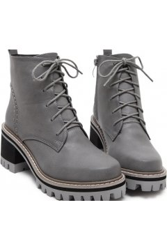 Grey Leather Lace Up High Top Chunky Sole Punk Rock Military Combat Boots Women Shoes