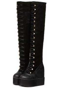 Black Lace Up Gothic Punk Rock Lolita Platforms Wedges Over Knee Long Boots Women Shoes