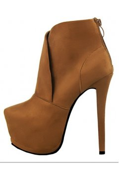 Camel Brown Suede Platforms Stiletto High Heels Ankle Boots Shoes