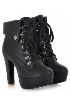 ​Black Beige White Punk Rock Funky Lace-Up Platforms Military Combat High Heels Boots