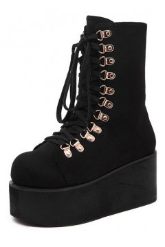 ​Black Suede Lace Up Platforms Chunky Sole Creepers Punk Rock Grunge Boots Shoes