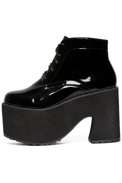 ​Patent Black Leather Platforms Chunky Sole Heels Lace Up Lolita Gothic Punk Ankle Boots Shoes