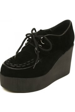 Black Stitches Lace Up Creepers Platforms Wedges Gothic Grunge Women Shoes Heels