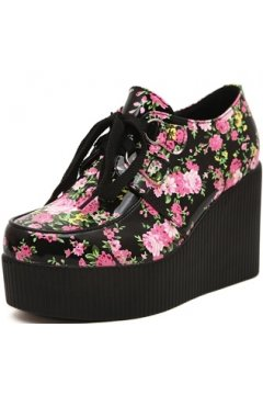 Black Pink Flower Roses Lace Up Creepers Platforms Wedges Gothic Grunge Women Shoes Heels