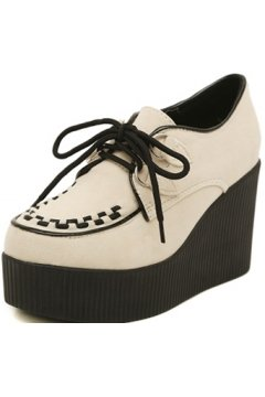 Brown Tan Stitches Lace Up Creepers Platforms Wedges Gothic Grunge Women Shoes Heels
