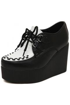 Black White Stitches Lace Up Creepers Platforms Wedges Gothic Grunge Women Shoes Heels