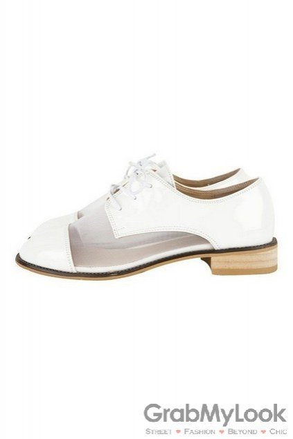 Shoes / Oxfords / Semi Sheer Lace Up Flats Women Oxfords Shoes Flats