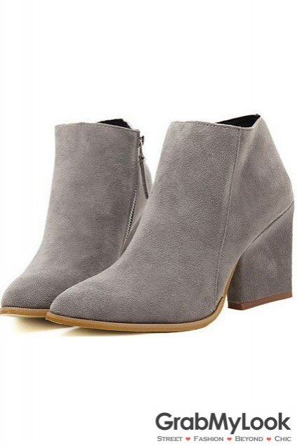 Home shoes boots grey suede point head ankle womens boots shoes