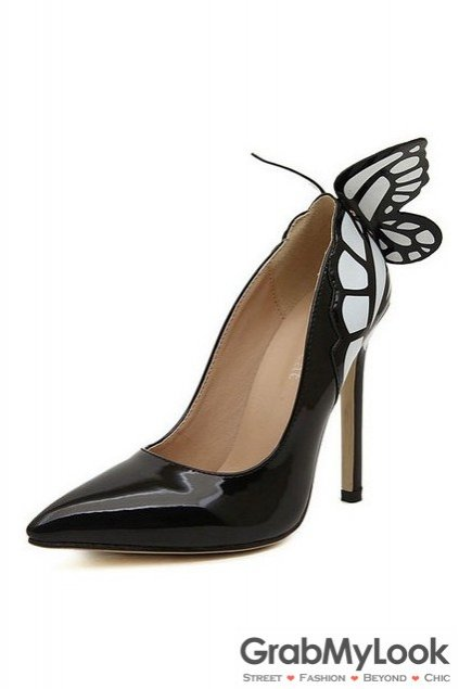 Patent Leather Butterfly Back Stiletto High Heels Women Pump Shoes