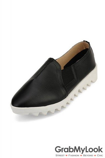 Leather White Zig Zag Thick Sole Loafers Flats Women Oxfords Shoes