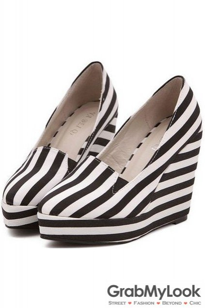 Zebra Point Head Stripes Platforms Wedges Women Loafers Shoes Heels