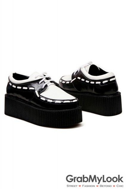 Stitches Thick Sole Platforms Lace Up Creepers Women Oxfords Shoes